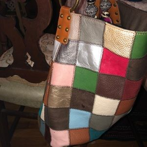 Stella and Max patchwork bucket handbag.